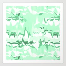Marbled in emerald Art Print