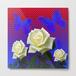 ROSES BLUE BUTTERFLIES RED OPTIC ART Metal Print