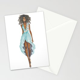 GIRL - Negress Lady In TURQUOISE - watercolor Stationery Cards