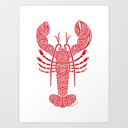 Tribal Maine Lobster on White Art Print