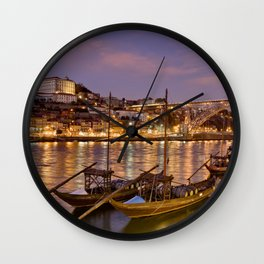 Porto at dusk Wall Clock