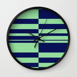 Abstract striped pattern. blue and green . Wall Clock