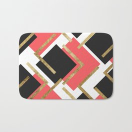 Chic Coral Pink Black and Gold Square Geometric Bath Mat
