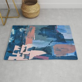 Rhythm of Rain: a modern abstract piece by Alyssa Hamilton Art in blues and pinks Rug
