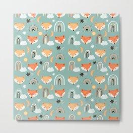 Rainbow Foxes Metal Print