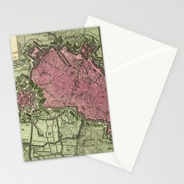 Map Of Lille 1708b Stationery Cards