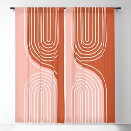 Geometric Lines in Terracotta Rose Gold 19 (Rainbow and Lines Abstraction) Blackout Curtain