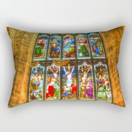 Cathedral Stained Glass Window Rectangular Pillow