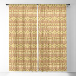 Mudcloth Style 2 in Burnt Orange and Yellow Sheer Curtain