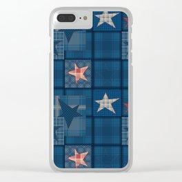 Blue denim patchwork . Clear iPhone Case