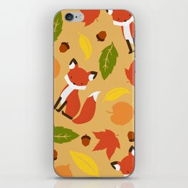 Fox Jumble - Beige iPhone Skin