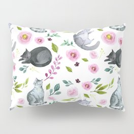 Watercolor Cats and Flowers Pattern Pillow Sham