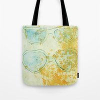 sunglasses Tote Bags featuring Sunglasses by Leah Gonzales