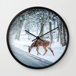 snow deer Wall Clock