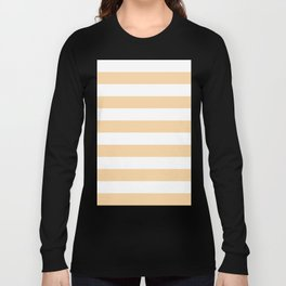 Horizontal Stripes - White and Sunset Orange Long Sleeve T-shirt