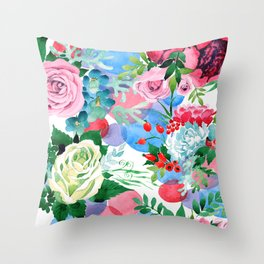 Summer Time Floral Pattern in Pink, Red & Blue Throw Pillow