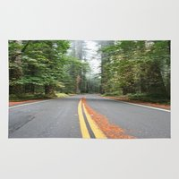 giants Area & Throw Rugs featuring Avenue Of The Giants by Kim Ramage