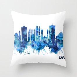 Dakar Senegal Skyline Blue Throw Pillow
