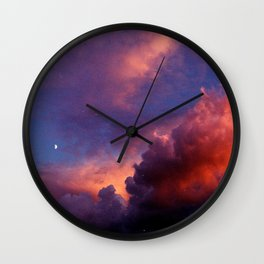 Moon in Sunset Clouds Wall Clock