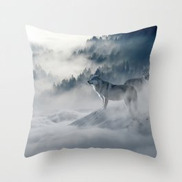Wolves loup 2 Throw Pillow