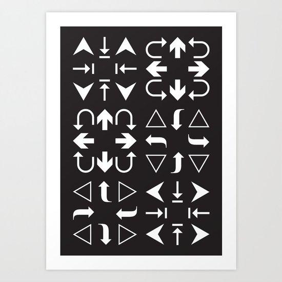 Arrows black and white Art Print