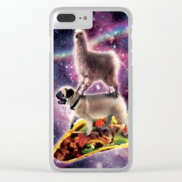 Rainbow Space Llama On Pug Riding Taco Clear iPhone Case
