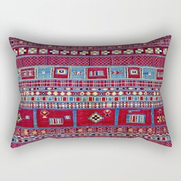 Tunisian Flatweave Antique Tribal Rug Print Rectangular Pillow
