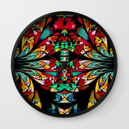 Multi Color Abstract Fractal Art Wall Clock