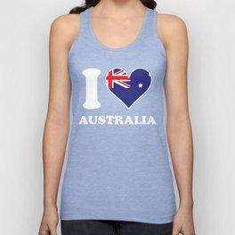 I Love Australia Australian Flag Heart Unisex Tank Top