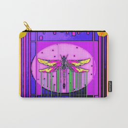 Modern ART DECO Gold Hibiscus & Dragonfly  Art Carry-All Pouch