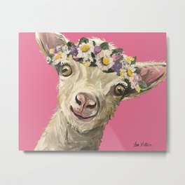 Flower Crown Animal, Goat Art, Farm Animal Metal Print