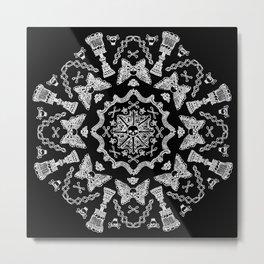 Bone Mandala White Lines Metal Print