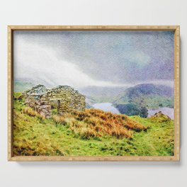 Old Stone ruins and black sky above Haweswater, Lake District. Cumbria, Uk, Watercolor Art Serving Tray