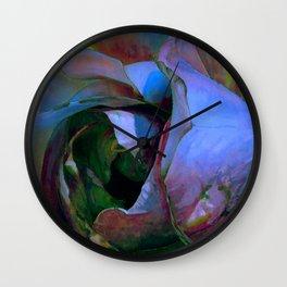 Floribunda Rose - Cool Blue Green Wall Clock