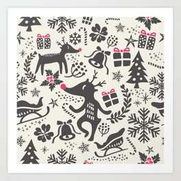 Christmas pattern with gift boxes and snowflakes. Art Print