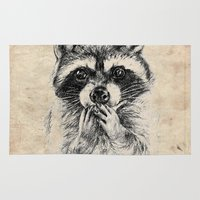rocket raccoon Area & Throw Rugs featuring Surprised raccoon by Anna Shell