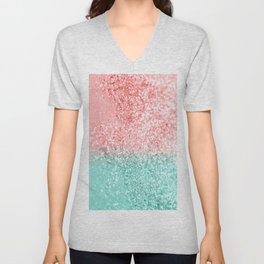 Summer Vibes Glitter #3 #coral #mint #shiny #decor #art #society6 Unisex V-Neck