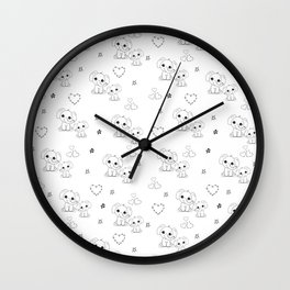 Cute Doodle Elephant Ink Art Wall Clock