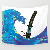 sword Wall Tapestries featuring Hokusai Rainbow & Samurai Sword by FACTORIE