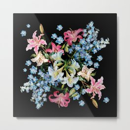 Vintage Delphiniums and lilies watercolor paint on a dark background Metal Print