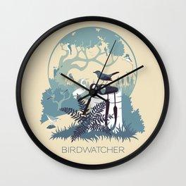 Birdwatcher (blues) Wall Clock