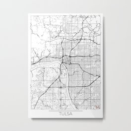 Tulsa Map White Metal Print