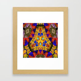 Stellar Vintage Geometric Meditation Mixed Media Mandala Framed Art Print