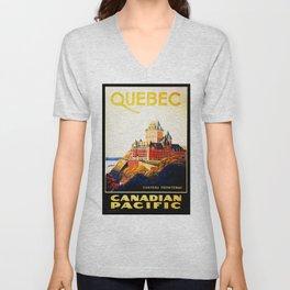QUEBEC Chateau Frontenac Canadian Grand Railway Hotel Vintage Tourism Poster Unisex V-Neck