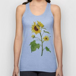 One sunflower watercolor arts Unisex Tank Top