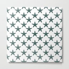 Starfishes (Dark Green & White Pattern) Metal Print