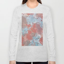 Round And Round Coral Blue Long Sleeve T-shirt