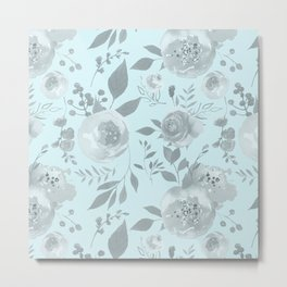 light blue and gray floral watercolor print Metal Print