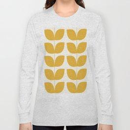 Mid Century Modern Leaves Yellow #society6 #buyart  Long Sleeve T-shirt