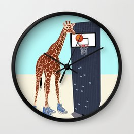 New basketball player in the neighborhood Wall Clock